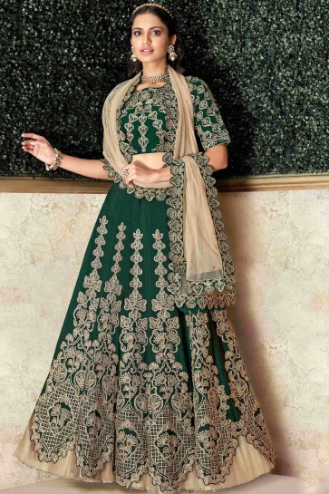 Fascinating Green Stone Work And Embroidred Satin And Silk Lehenga With Stone Work Blouse