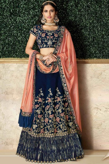 Appealing Blue Stone Work And Embroidred Velvet Lehenga Choli And Dupatta