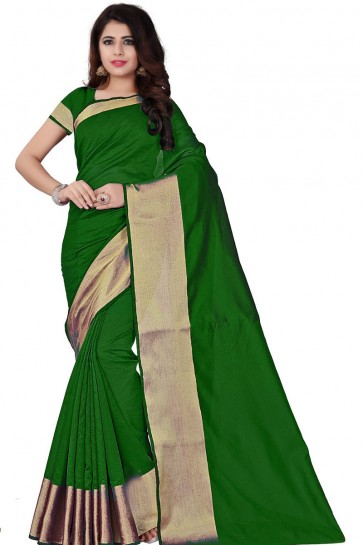Graceful Green Cotton Occasional Saree