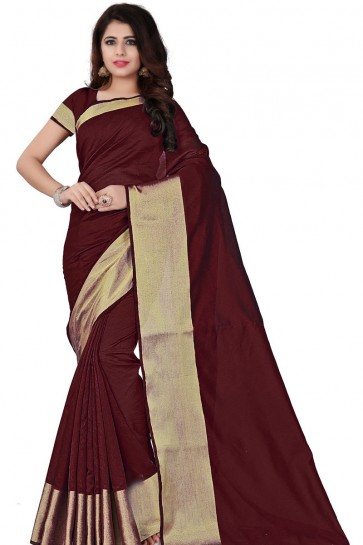 Pretty Maroon Cotton Party Wear Saree