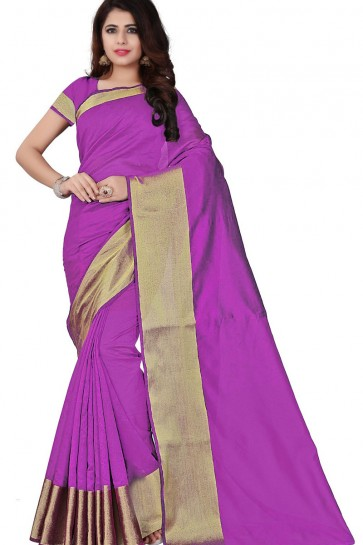 Desirable Pink Cotton Party Wear Saree