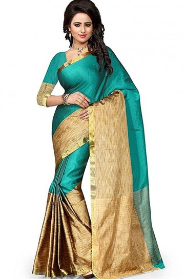 Admirable Beige and Green Cotton Party Wear Saree