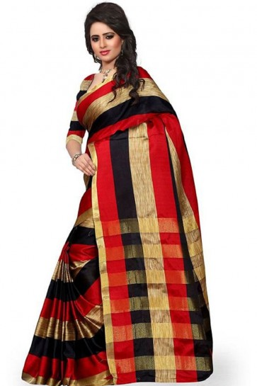 Graceful Red Cotton Occational Saree