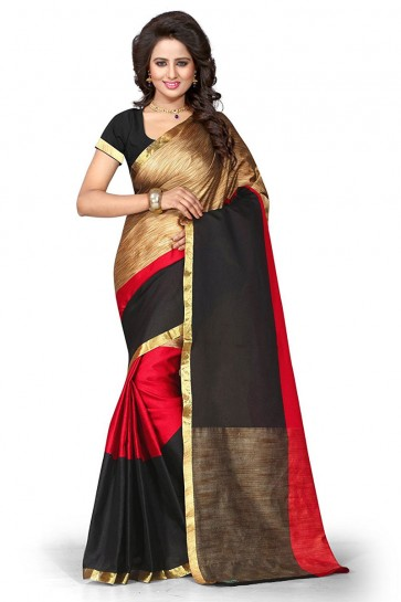 Stylish Red Cotton Party Wear Saree