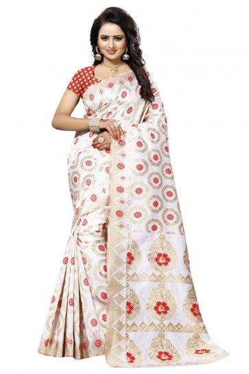 Beautiful White and Red Cotton Party Wear Printed Saree
