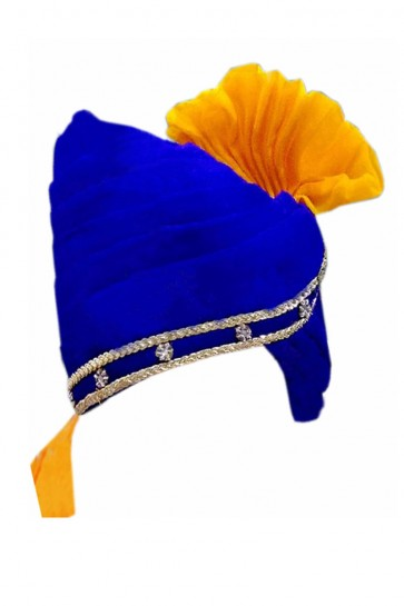 Beautiful Blue and Yellow Wedding Safa