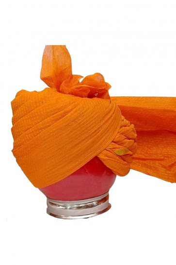 Graceful Orange Net Zari Work Turban