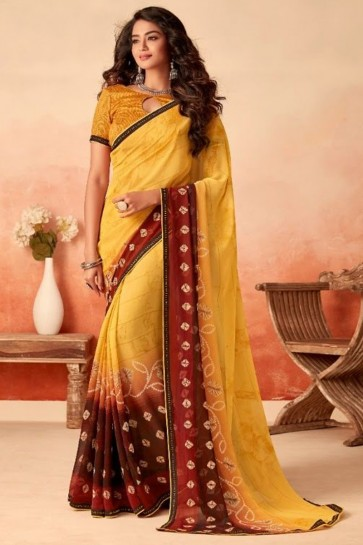 Stunning Yellow Chiffon Fabric Designer Printed Saree With Silk Blouse