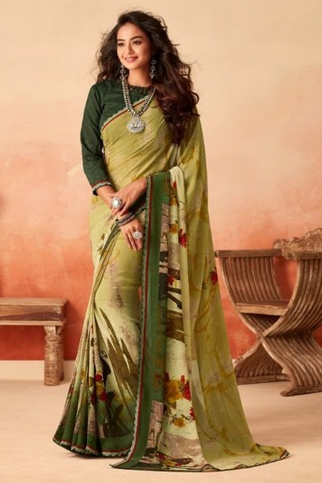 Green Chiffon Fabric Printed Designer Saree With Silk Blouse