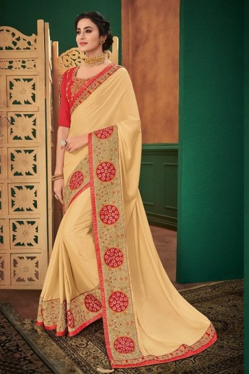 Olive Net Fabric Embroidered Designer Saree And Blouse