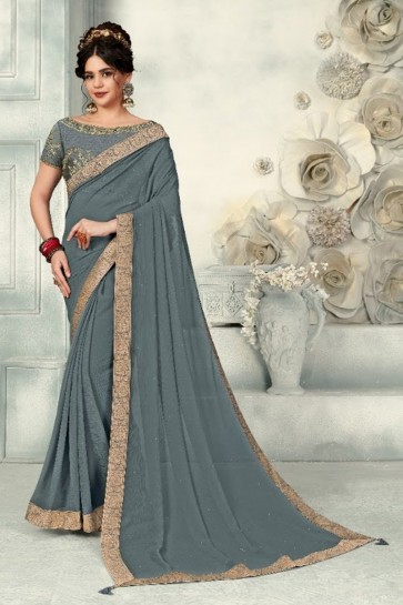 Optimum Zari Work And Border Work Grey Chiffon Fabric Designer Saree And Blouse