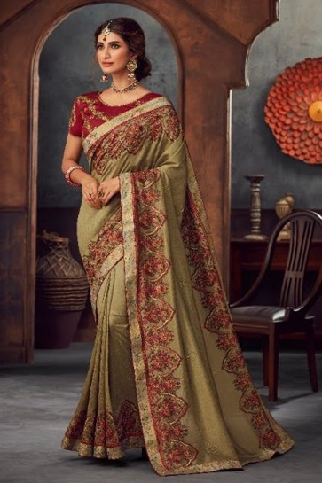 Stone Work and Embroidered Khaki Silk Fabric Saree And Blouse