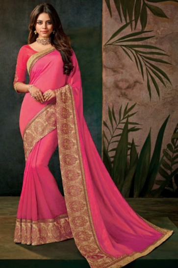 Supreme Pink Silk Saree with Lace Work