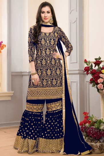 Charming Semi Stitched Navy Blue Embroidered Sarara Plazo Salwars Suit