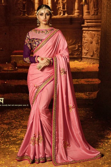 Excellent Pink Embroidery Work Engagement Wear Bridesmaid Saree