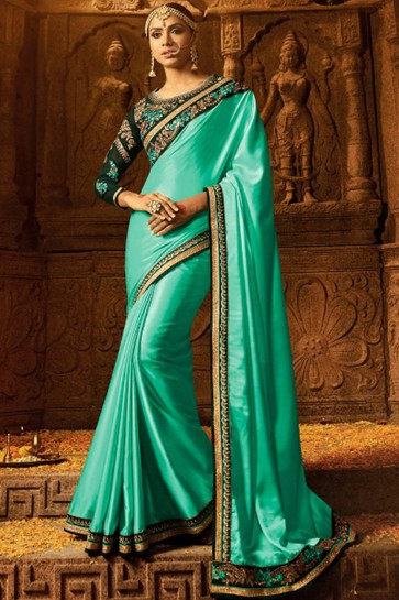 Gorgeous Sea Green Color Wedding Wear Bridesmaid Silk Saree