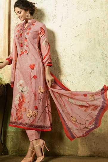 Charming Semi Stitched Pink Embroidered Casual Cotton Suit