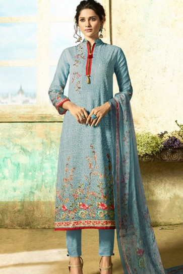 Desirable Semi Stitched Sky Blue Casual Wear Embroidered Cotton Salwar Kameez