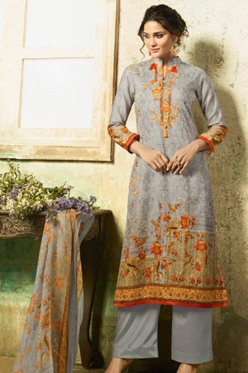 Beautiful Semi Stitched Grey Embroidered Casual Wear Cotton Salwar Kameez