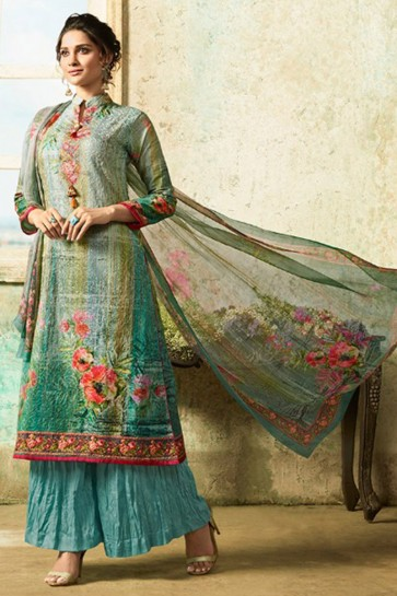 Charming Semi Stitched Green Embroidered Cotton Casual Salwars Suit