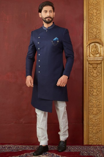 Stylish Navy Blue Jacquard, Silk and Brocade Designer Embroidered Indo Western