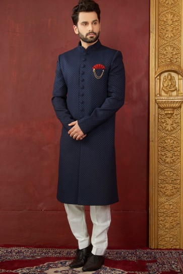 Ultimate Navy Blue Jacquard, Silk and Brocade Designer Embroidered Indo Western
