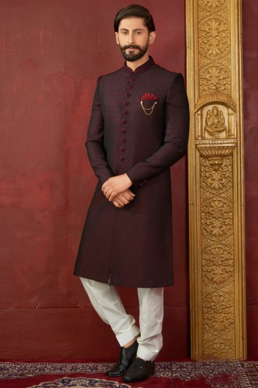 Admirable Maroon Jacquard, Silk and Brocade Designer Embroidered Indo Western