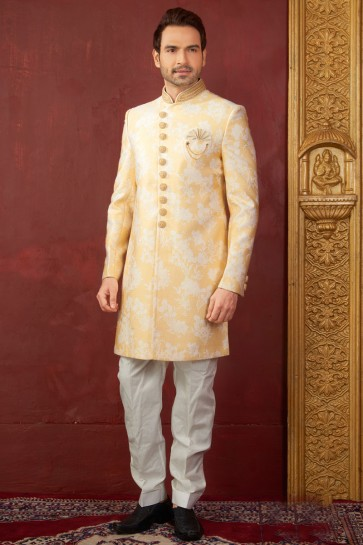 Gorgeous Yellow Jacquard, Silk and Brocade Designer Embroidered Indo Western