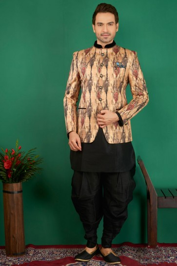 Stylish Peach Jacquard, Silk and Brocade Designer Embroidered Indo Western