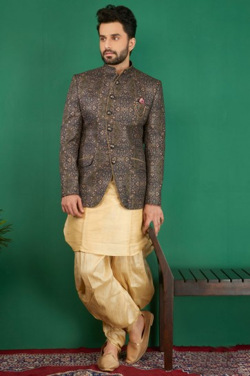 Lovely Grey Jacquard, Silk and Brocade Designer Embroidered Indo Western