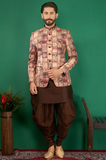 Pretty Brown Jacquard, Silk and Brocade Designer Embroidered Indo Western