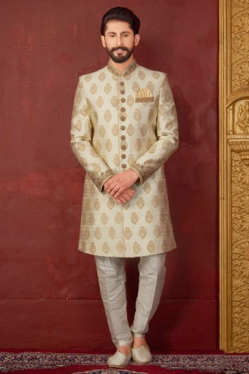 Desirable Cream Jacquard, Silk and Brocade Designer Embroidered Indo Western