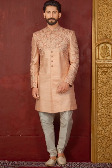 Graceful Peach Banarasi Silk Designer Embroidered Indo Western
