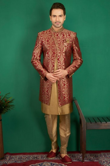 Desirable Maroon Jacquard, Silk and Brocade Designer Embroidered Indo Western