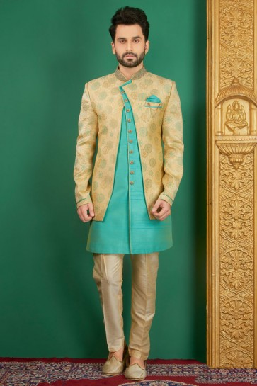 Supreme Turquoise Jacquard, Silk and Brocade Designer Embroidered Indo Western
