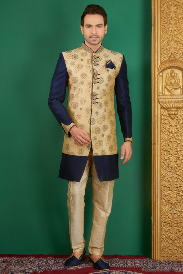 Gorgeous Navy Blue Jacquard, Silk and Brocade Designer Embroidered Indo Western