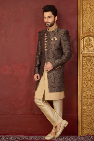 Pretty Brown Jacquard, Silk and Brocade Embroidered Indo Western
