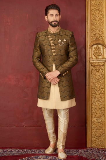 Classic Golden Jacquard, Silk and Brocade Designer Embroidered Indo Western