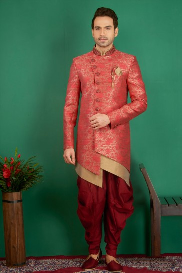 Lovely Pink Jacquard, Silk and Brocade Designer Embroidered Indo Western