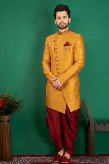 Graceful Mustard Jacquard, Silk and Brocade Designer Embroidered Indo Western