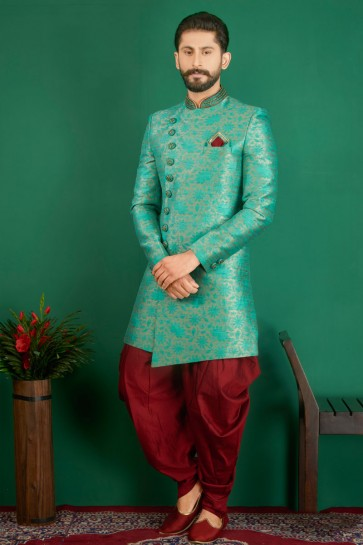 Excellent Turquoise Jacquard, Silk and Brocade Designer Embroidered Indo Western