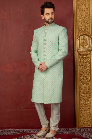 Admirable Green Jacquard, Silk and Brocade Designer Embroidered Indo Western