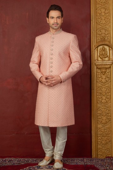 Stylish Peach Jacquard, Silk and Brocade Designer Indo Western