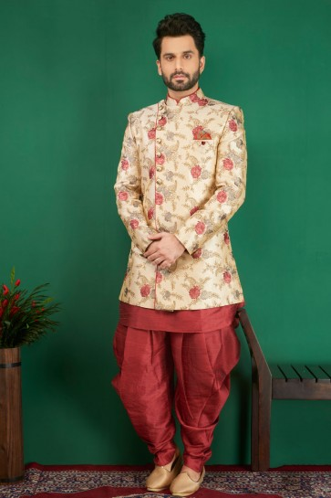 Admirable Cream Jacquard, Silk and Brocade Embroidered Indo Western