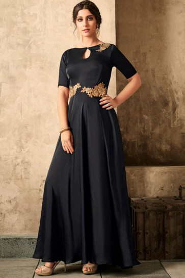 Admirable Black Satin Khatli Work Long length Designer Gown