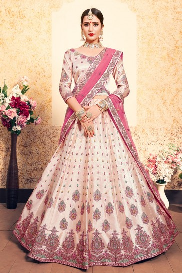 Beautiful Peach Satin Thread Work Work Designer Lehenga Choli With Net Dupatta