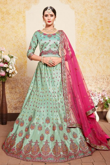 Graceful Green Satin Thread Work Designer Lehenga Choli With Net Dupatta