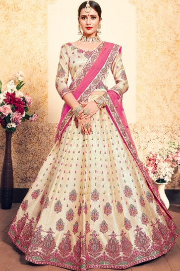 Admirable Cream Satin Thread Work Work Designer Lehenga Choli With Net Dupatta