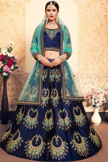 Pretty Navy Blue Satin Thread Work Work Designer Lehenga Choli With Net Dupatta