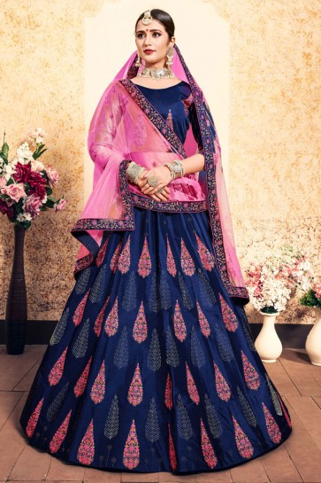 Excellent Navy Blue Satin Thread Work Work Designer Lehenga Choli With Net Dupatta